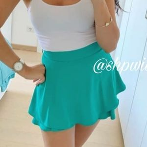 ZARA Emerald High Waisted Ruffled Skort-skirt